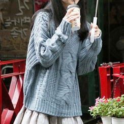 Furuto - Set: Long-Sleeve Ruffle Hem Shirtdress + Sweater