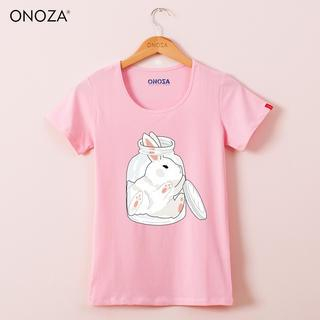 Onoza - Short-Sleeve Rabbit-Print T-Shirt