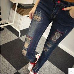 Sienne - Distressed Skinny Jeans