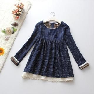 Blue Rose - Long-Sleeve Dotted Tunic