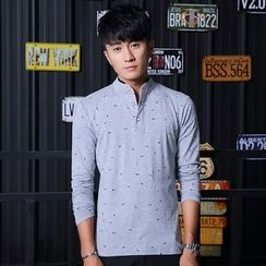 Walwa - Patterned Stand-collar Long-Sleeve T-shirt