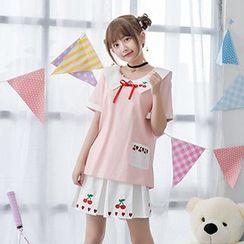 Moriville - Set: Cherry Embroidered Short Sleeve Blouse + A-line Skirt