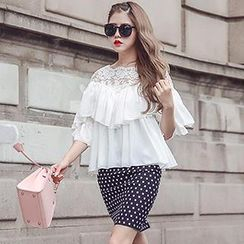 Romantica - Set: Lace-Panel Layered Top + Dotted Skirt