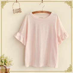 Fairyland - Ruffled Sleeve Striped T-Shirt