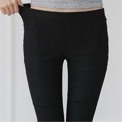 CHICFOX - Fleece-Lined Stitched Leggings Pants