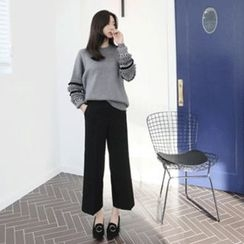 Hello sweety - Band-Waist Straight-Cut Pants