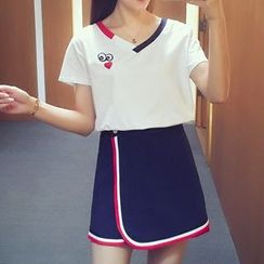 Cocofield - Set: Embroidered Short Sleeve V-Neck T-Shirt + Contrast Trim A-line Skirt