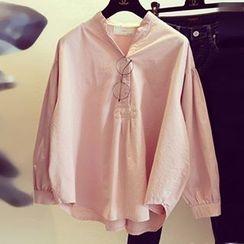 Shimi - Stand Collar Half-Placket Shirt