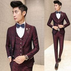 Besto - Set: Floral Print Blazer + Vest + Pants