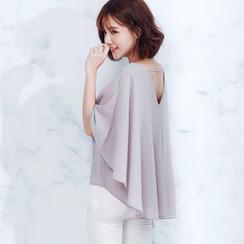 Tokyo Fashion - Short-Sleeve V-Neck Cutout-Back Top