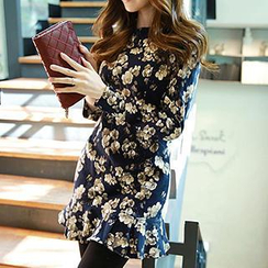 Dowisi - Long-Sleeve Floral Print Dress