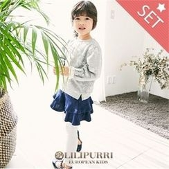 LILIPURRI - Set: Floral Pattern T-Shirt + Inset Skirt Leggings
