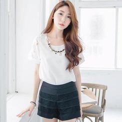 Tokyo Fashion - Short-Sleeve Beaded Chain-Accent Top