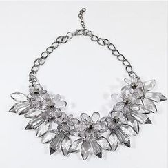 Ticoo - Flower Statement Chain Necklace