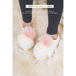 migunstyle - Faux-Fur Contrast-Trim Sneakers