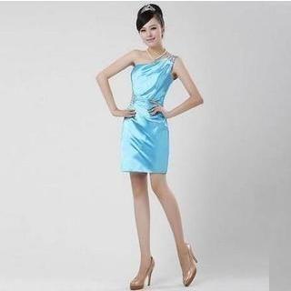 Fantasy Bride - One-Shoulder Jeweled Sheath Cocktail Dress