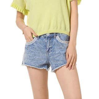 YesStyle Z - Leaves Embroidered Frayed Denim Shorts
