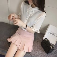 Colorful Shop - Short-Sleeve Plain Blouse