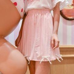 Moriville - 蝴蝶結裝飾打褶襉裙
