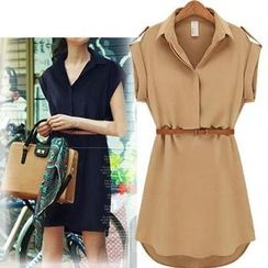 Coronini - Short-Sleeve Chiffon Shirtdress
