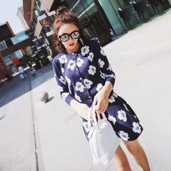 Tang House - Set: Floral Print Cardigan + A-Line Skirt
