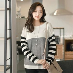 Styleberry - Color-Block Stripe Knit Top