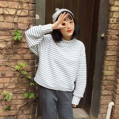 Melon Juice - Striped Mock Neck Pullover