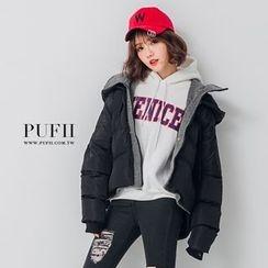 PUFII - 層次配色連帽鋪棉羽絨外套
