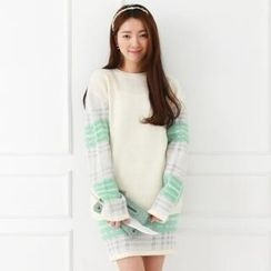 lovs - Set: Plaid-Sleeve Knit Top + Plaid Knit Skirt