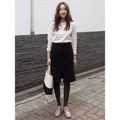 maybe-baby - Slit-Front Ruffle-Hem Skirt