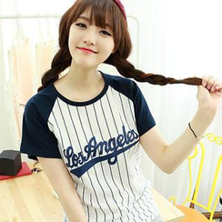 Dodostyle - Pinstriped Baseball Short-Sleeve T-Shirt