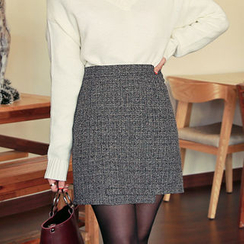 HOTPING - Wrap-Front Pattern Skirt