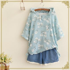 Fairyland - Floral Print Hooded Blouse