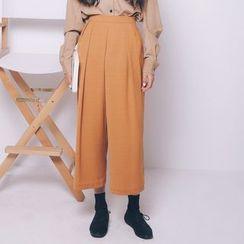 Porta - Plain Wide-leg Pants