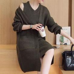 Bubbleknot - Set: Sleeveless Knit Dress + Cardigan