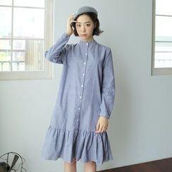 WITH IPUN - Ruffled-Hem Button-Detail Pinstriped Dress