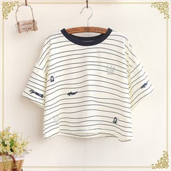 Fairyland - Nautical Print Striped Cropped T-Shirt