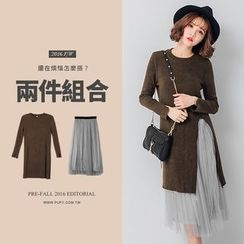 PUFII - Set: Long Knit Top + Mesh Skirt