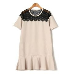 GRACI - Lace Panel Ruffle Short-Sleeve Dress