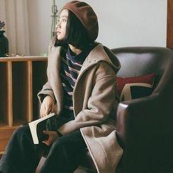 Porta - Plain Knit Hooded Coat