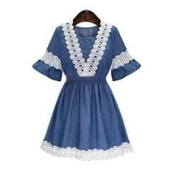 GRACI - Lace Panel Bell-Sleeve Dress