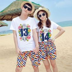 Azure - Couple Matching Set: Floral Print Short Sleeve T-Shirt + Shorts