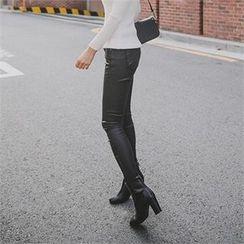 ERANZI - Zip-Side Coated Skinny Pants