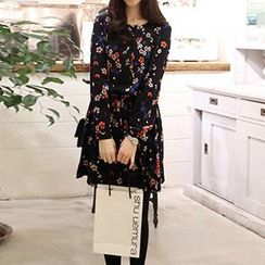Angel Shine - Floral Print Long-Sleeve Dress