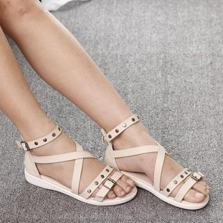 Lane172 - Studded Cross-Strap Sandals
