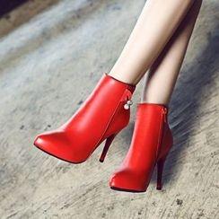 Pastel Pairs - Rhinestone High Heel Ankle Boots
