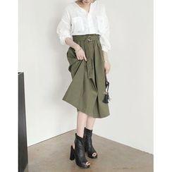 UPTOWNHOLIC - Band-Waist Maxi Skirt