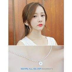 soo n soo - Disc Pendant Silver Necklace