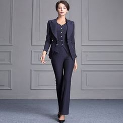 Jusak - Set: Pinstriped Blazer + Boot Cut Pants + Vest