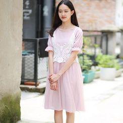 Rainbeam - 套裝:短袖連衣裙 + 無袖蕾絲上衣